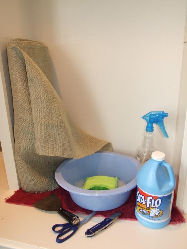 burlap wall upholstery